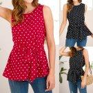 Women Polka Dot Blouses Fashion Sleeveless Tops Female Shirt American Casual Streetwear