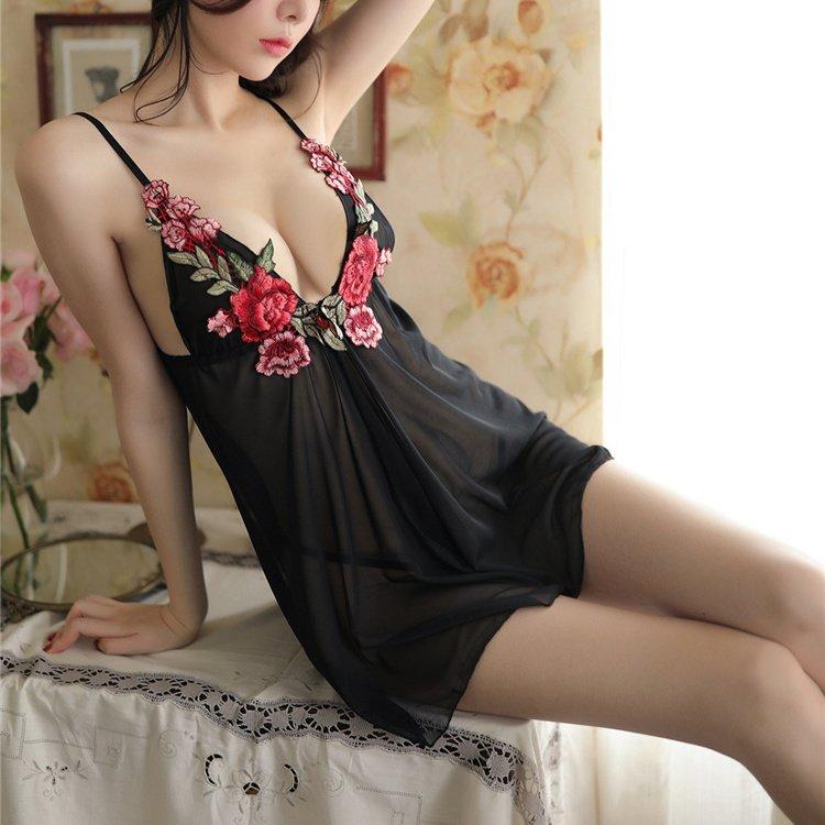 Sheer Mesh Nightdress Backless Lady Sexy Costume Female V-neck Erotic Babydoll Lingerie