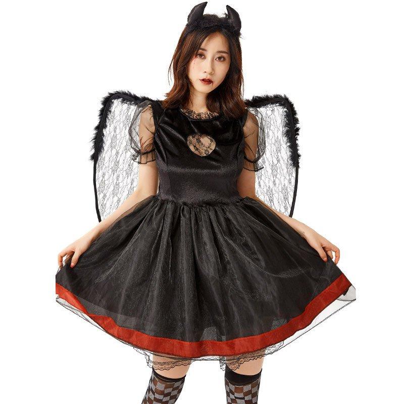 Dark Devils Uniform with Wing Mardi Gras Japaness Women Black Angel COS Costume