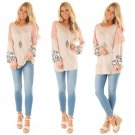 Women Contrast Color Camisole Autumn Loose Leopard Tees O-Neck Lady Fall T-Shirt