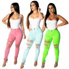 Sexy Skinny Destroyed Big Size Women Jeans 2XL Summer High Waist Cut Up Ripped Hole Pants