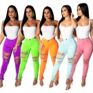 American Ripped Hole Pants Fashion Autumn Trousers Sexy Skinny Destroyed Big Size Women Jeans