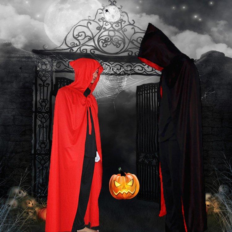Adult Carnival Devil Cloak Halloween Cosplay Ghost Costume Mardi Gras Mantle Black Death Pluvial