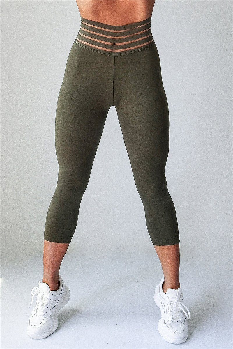 Solid Color Exercise Pants High Waist Sport Capris Women Jogging Clothing