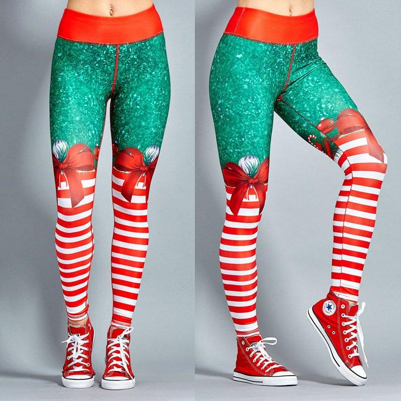 Winter Christmas Print Leggings Ourdoor 50% High Waist Athletic Wear
