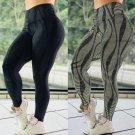 Women Streak Print Yoga Leggings Sexy Exercise Capris 50% High Waist Activewear