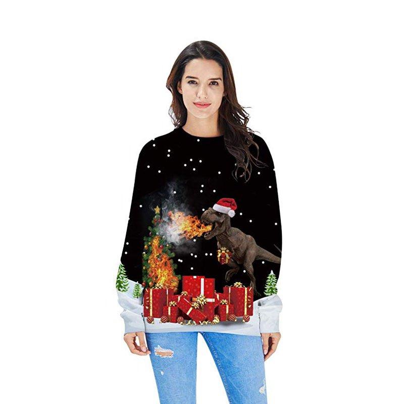 Ladies Christmas Hoodies Xmas Coat Sweatshirts Women Santa Clothing
