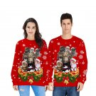 Xmas Hoodies Casual Holiday Sweatshirt Christmas Tops Animal Cat Street Wear