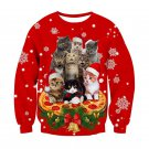 Casual Holiday Christmas Sweatshirt Fashion Xmas T-shirt Red Santa Cat Hoodies