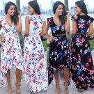 Summer Floral Printed Midi Dresses Deep V-neck Women Print Maxi Casual Dress
