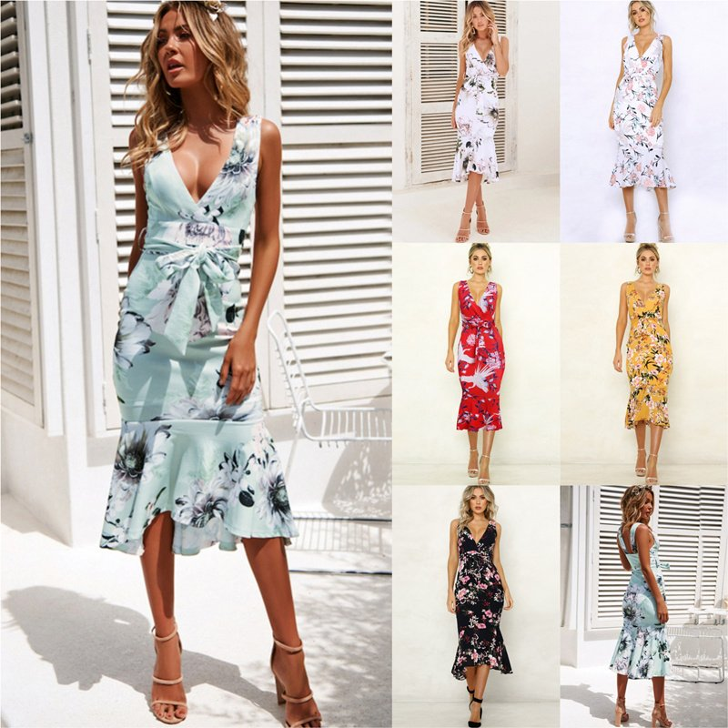 Summer Floor-Length Streetwear V-neck Floral Printed Casual Dresses