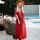Plus Size 2XL Streetwear Short Sleeve Sheer Loose Beach Maxi Dress V-Neck Summer Clothing