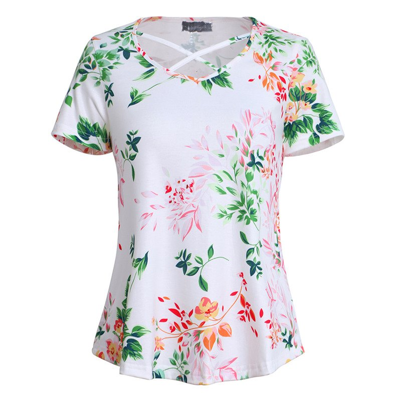 2020 Summer Women Blouse Short Sleeve Fashion Scroop Neck Tops Floral Print Tee