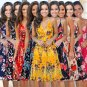 2020 V-Neck Midi Dress Sleeveless Fashion Empire Beach Wear Floral Printed Party Dresses
