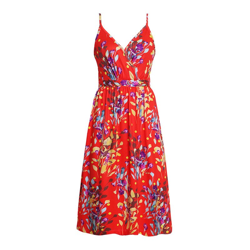 Fashion Empire Beach Wear Floral Printed Party Dresses Female Summer Trendy Clothing