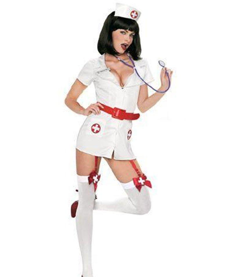 Halloween Uniform Fetish Uniform White Fancy Dress Sexy Naughty Nurse Costumes with Belt