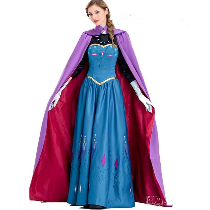 Fairy Tale Princess Fancy Dresses Girl Carnival Cosplay Blue Dress With Purple Satin Cloak