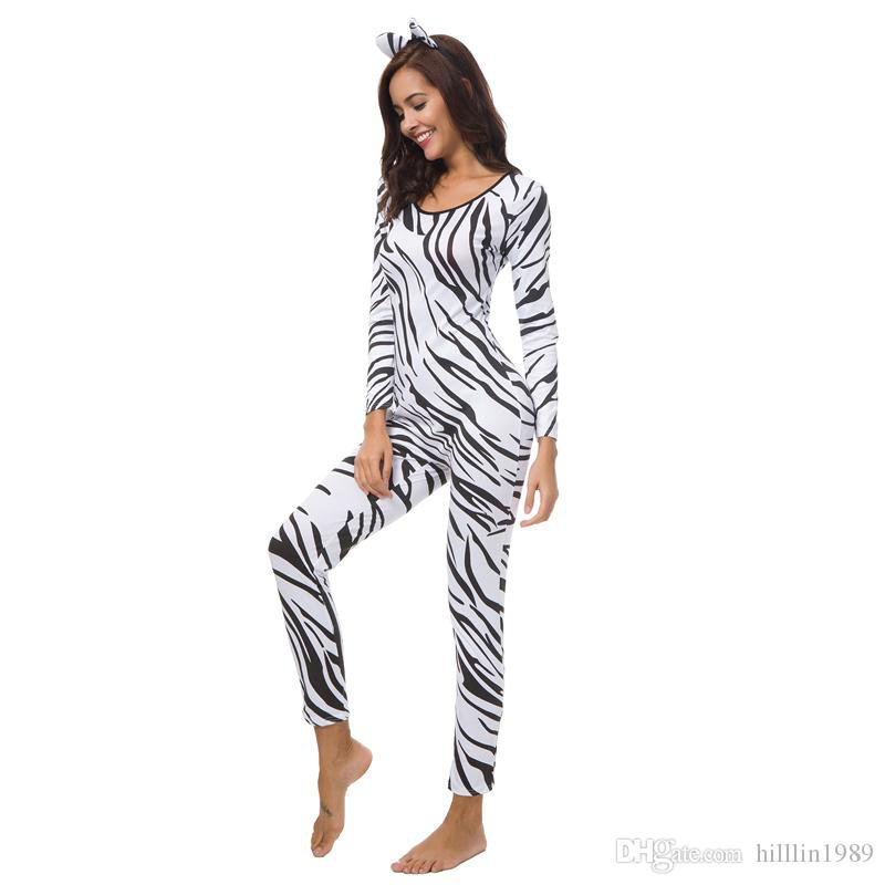 Zebra Printing Catsuit Black Straps Cosplay Zoo Animal Costumes Female Carnival COS Jumpsuit