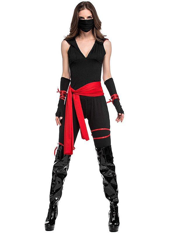 Black Ninja Cosplay Bodysuit Sexy Halloween Superhero Uniform American Anime Ninja Costume