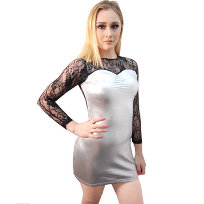 Night Party Dresses Women PVC Club Wear Crew Neck Faux Leather Spring Sexy Mini Dress