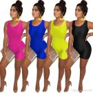 Solid Color Summer Workout Jumpsuits Sleeveless Trendy Clothing Fashion Fitness Bodysuits