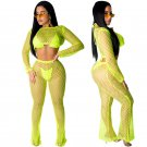 Full Sleeve Fashion Two Piece Sets Mesh Two Piece Pants Hot Breathable Female Sport Tracksuits