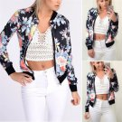 Spring Floral Printed Coat Rose Long Sleeve Fashion Female Clothes UK Crew Neck Casual Outerwear