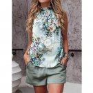Female Summer Floral Print Tanks Animal Printed Streetwear Halter Camouflage Tees
