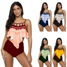Women Super Size 4XL Tankinis Floral Printed Swimwear Female Padded Bathing Suits