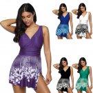 Women Floral Printe Beach Dresses Plus Size 5XL Bathing Suit Two Pieces Swimdress