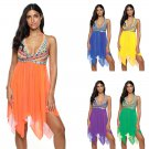 Women Plus Size Beach Dresses V-neck 4XL Mesh Cover-ups Female Big Size Swimwear