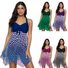 Women Super Size Swimdress 3XL Padded Mesh Beachwear Plaid Print Swimsuit
