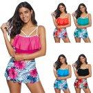 Plus Size Floral Printed Swimwear Female Padded Bathing Suits Women 4XL High Waist Beachwear