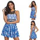 Big Size Halter Beach Dresses Women Plus Size Swimwear Geometric Print Swimdress