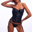 Women Zipper Corselet Sexy Faux Leather Bustiers Lace Up Stunning Black Vinyl Corset