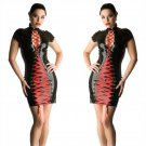 Women Wet Look Party Dresses Summer Double Red Lace Up Panels Vinyl PVC Night Clubwear