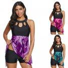 Halter Super Size Swimwear Female Floral Print Padded Bikinis Women Swimming Tank Tops