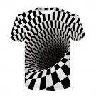 Unisex Geometric Printed Plus Size Streetwear Men T-shirts Crew Neck Summer Delusion Tops