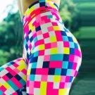Plaid Printed Yoga Capris Female Workout Trousers Plus Size XXL Sport Pants