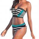 Plus Size Swimwear Female Striped Print Padded Bathing Suit Women Swimming Costume