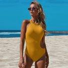 Halter One Piece Swimwear Women Vintage Swimming Costume Solid Color Bikini