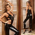 Black PVC Catsuit Hollow Out AV Sexy Costume Fetish Bodysuits Faux Leather Club Wear