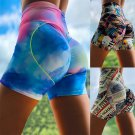Digital Print Active Shorts for Women Fitness Trousers Ladies High Waist Sport Pants