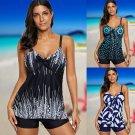 Women Digital Print Tankinis Female V-neck Bathing Suits Summer Beach Resort Wear