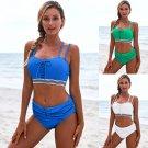Lady Tankini Tops Padded Lace-up Bathing Suits Female Swimming Wear Double Spaghetti Straps Bikini