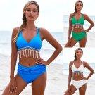 Women Bathing Costume Mid Waist Swimsuits Swimmers Bathers Ladies Tassel Bikinis