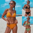 Fashion Solid Color Swimwear Spaghetti Strap Bathing Suit Summer Beach Resort Wear