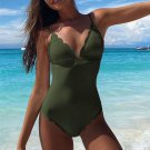 Sexy Plus Size Swimmers Solod Color Swimsuits Chic Bathing Suits One Piece Swimwear
