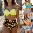 Sexy Floral Print Swimwear Lady Push-up Bikinis Spaghetti Strap Padded Swimsuit