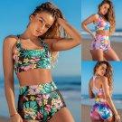 Fashion Tie-dyed Swimwear Lady Push-up Bikinis Floral Padded Swimsuit High Waist Beach Bottoms
